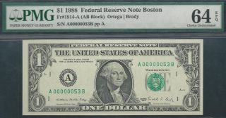 $1 1988==two - Digit Serial==number 53==a00000053b==pmg Ch Unc 64 Epq photo