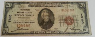 1929 Type 1 Reynoldsville Pa $20 National Currency Note - Very Scarce photo