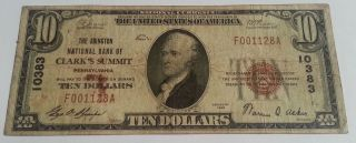 1929 Type 1 Abington National Bank Pa $10 National Currency Note - Rare photo