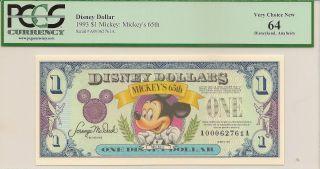 1993 $1 Mickey Disney Dollar Pcgs 64 Mickey ' S 65th Disneyland A Series photo
