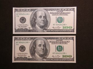 2006 A $100 Us Dollar Bank Note 00424198/99 Replacement Star Bill United States photo