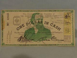 Six Scrip Notes Fostoria Ohio W/ Fic Stickers 1935/34 Deprssion Era One Dollar photo