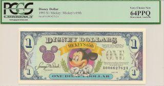 1993 $1 Mickey Disney Dollar Pcgs 64ppq Mickey ' S 65th Disneyland A Series photo