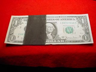 1977 - A $1 Federal Reserve Note Heavy Ink Stain Error Bill 105 photo