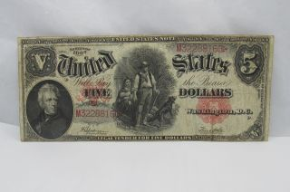 United States Note 1907 Five Dollar Bill Legal Tender photo
