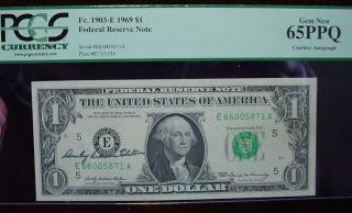 1969 $1 Frn Richmond Signed U.  S.  Treasurer Elston Pcgs,  Gem 65 Ppq photo