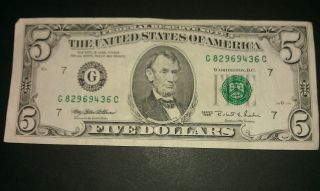 $5 Usa Frn Federal Reserve Note Series 1995 G82969436c photo
