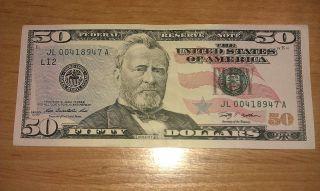 $50 Usa Frn Federal Reserve Note Series 2009 Jl00418947a Crisp & photo