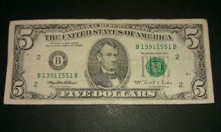 $5 Usa Frn Federal Reserve Note Series 1995 B13911551b photo