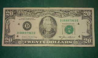 $20 Usa Frn Federal Reserve Note Series 1985 D08897963e photo