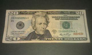 $20 U.  S.  A.  F.  R.  N.  Federal Reserve Note Series 2006 Id00652844c photo