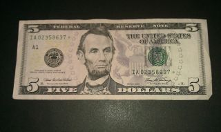 $5 Usa Frn Federal Reserve Star Note Series 2006 Ia02358637 photo
