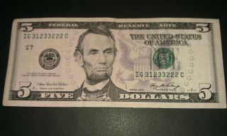 $5 Usa Frn Federal Reserve Note Series 2006 Ig31233222c Repeater Style Serial photo