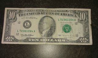 $10 Usa Frn Federal Reserve Note Series 1995 L72361264a photo