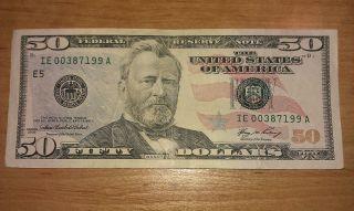 $50 U.  S.  A.  F.  R.  N.  Federal Reserve Note Series 2006 Ie00387199a photo