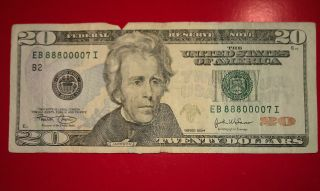$20 U.  S.  A.  F.  R.  N.  Federal Reserve Note Series 2004 Eb88800007i Repeater Serial photo