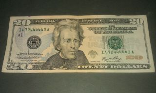 $20 U.  S.  A.  F.  R.  N.  Federal Reserve Note Series 2006 Ia72444443a Repeater Number photo