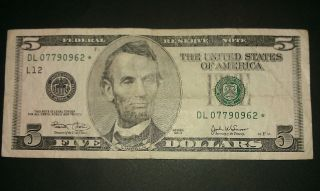 $5 Usa Frn Federal Reserve Star Note Series 2003 Dl07790962 photo