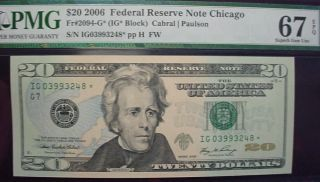 2006 $20 Frn,  Chicago Star Fr - 2094 - G Pmg Gem Uncirculated 67 Epq photo