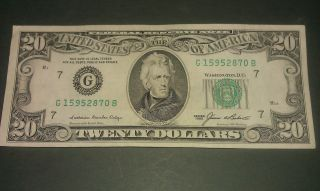 $20 U.  S.  A.  F.  R.  N.  Federal Reserve Note Series 1985 G15952870b photo