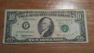 $10 U.  S.  A.  Frn Federal Reserve Note Series 1995 F93370914c photo