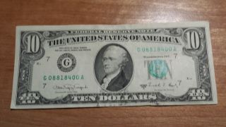 $10 U.  S.  A.  Frn Federal Reserve Note Series 1988a G08818400a photo