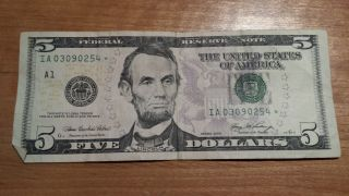 $5 U.  S.  A.  Frn Federal Reserve Star Note Series 2006 Ia03090254 photo
