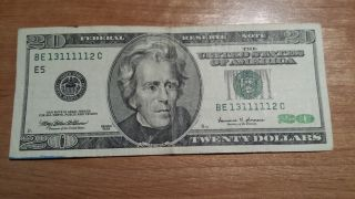 $20 U.  S.  A.  Frn Federal Reserve Note Series 1999 Be13111112c photo