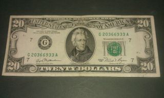 $20 U.  S.  A.  F.  R.  N.  Federal Reserve Note Series 1981 G20366933a photo