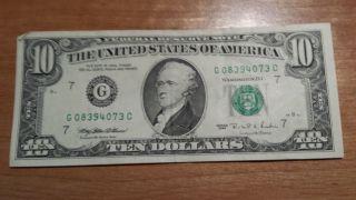 $10 U.  S.  A.  Frn Federal Reserve Note Series 1995 G08394073c photo