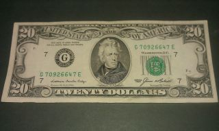 $20 U.  S.  A.  F.  R.  N.  Federal Reserve Note Series 1985 G70926647e photo