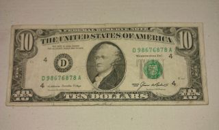 $10 Usa Frn Federal Reserve Note Series 1985 D98676878a photo