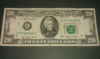 $20 U.  S.  A.  F.  R.  N.  Federal Reserve Note Series 1977 G27796306d photo