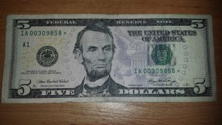 $5 Usa Frn Federal Reserve Star Note 2006 Ia00309858 photo