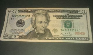 $20 U.  S.  A.  F.  R.  N.  Federal Reserve Note Series 2006 Ig22222752c Repeater Style photo