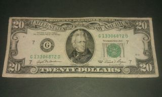 $20 U.  S.  A.  F.  R.  N.  Federal Reserve Note Series 1981 G13306872d photo