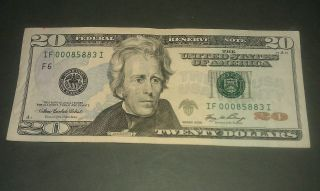 $20 Usa Frn Federal Reserve Note Series 2006 If00085883i Low Serial Number photo