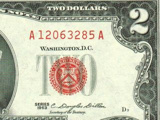$2 1963 Dollar Bill Red Seal Choice / Gem Cu More Currency 4 photo