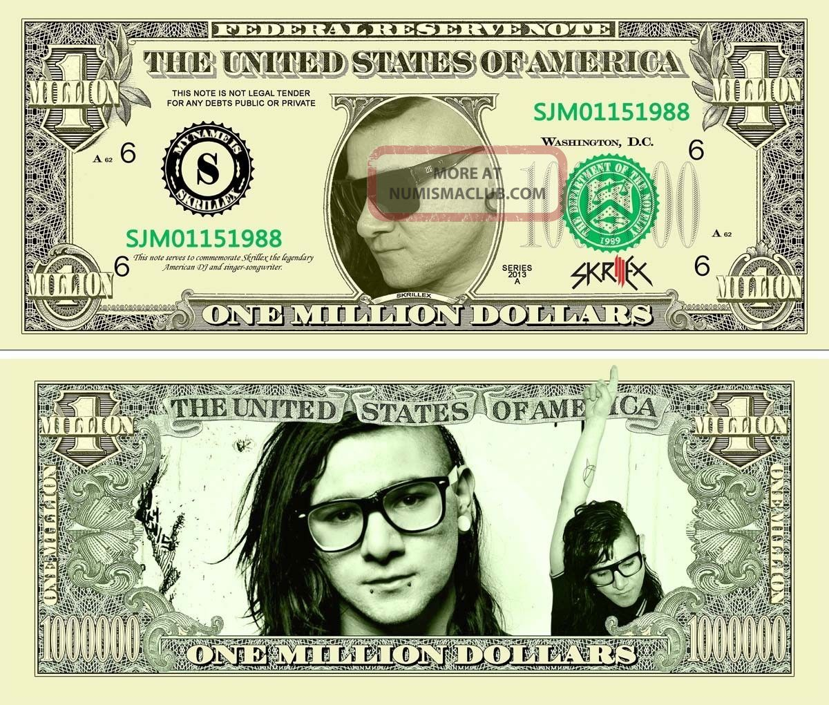 Skrillex One Million Dollar Bills With A Very Realistic Look And Feel Paper Money: US photo