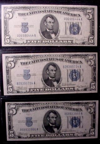Three 1934/34d Five $5 Dollar Blue Seal Silver Certificate Ef/xf (circulated) photo