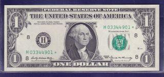 1969 $1 Federal Reserve Note Frn H - Star Cu Star Unc photo