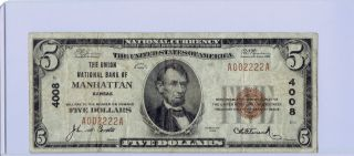 Manhattan,  Kasas :: 1929 $5 National Currency :: Repeating Serial Number photo