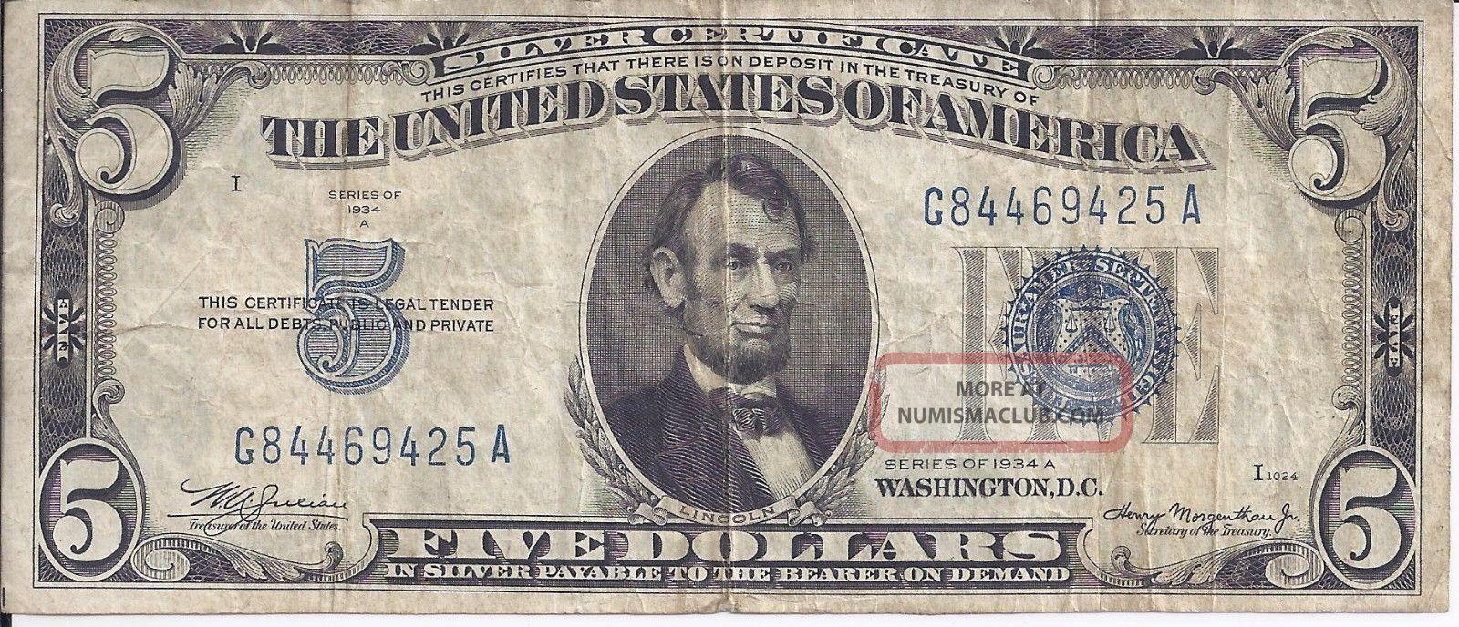 silver 1934 certificate dollar morganthau julian five