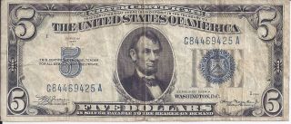 $5 Five Dollar Silver Certificate 1934 - A Julian - Morganthau, photo