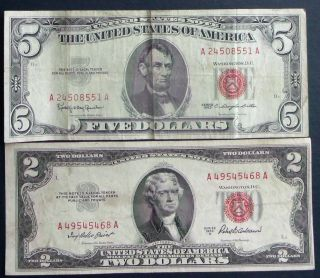 One 1963 $5 & One 1953a $2 United States Notes (a49545468a) photo