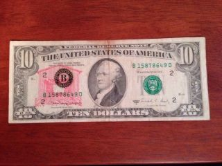Odd 1988 $10 Bill U.  S.  Federal Reserve Note 1988a A Series With Covered Bridge ? photo