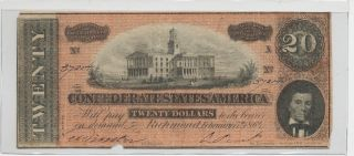 T - 67 Pf - 15 $20 Confederate Paper Money - Red Note photo