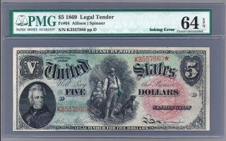 1869 $5 Dollar United States Legal Tender Fr - 64 In A Pmg Choice 64 Epq photo