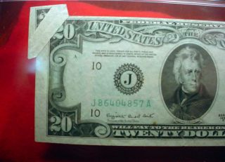 $20 Federal Reserve Note Butterfly Fold Error Pmg Certified Au - - 55 45 photo