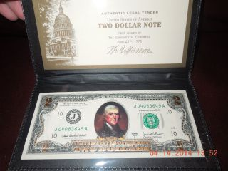 Outstanding $2 Dollar Gold Encrusted Us Bill / Uncirculated / Wrme photo